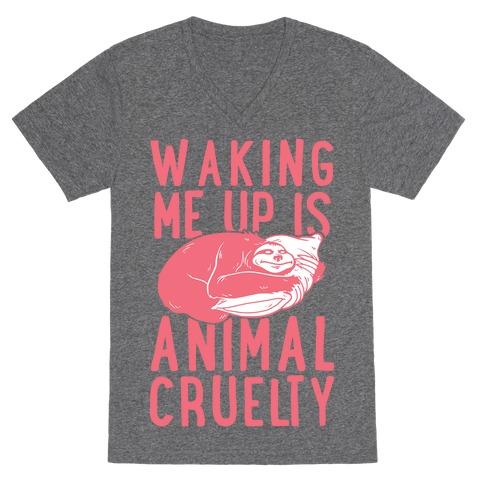 Waking Me Up Is Animal Cruelty V-Neck Tee Shirt