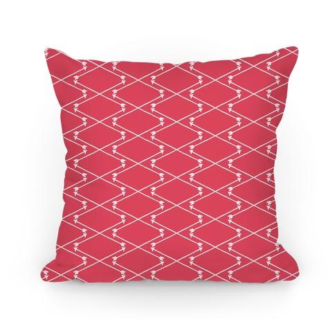 Coral Hipster Bow Arrow Crisscross Pattern Pillow