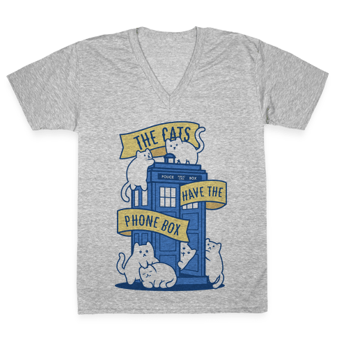 The Cats Have the Phone Box! V-Neck Tee Shirt