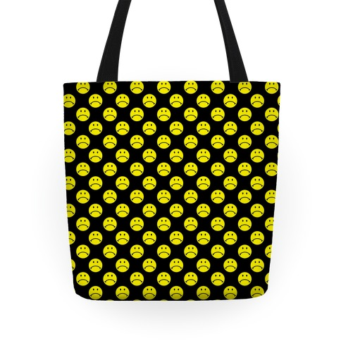 Sad Smiley Face Pattern Tote