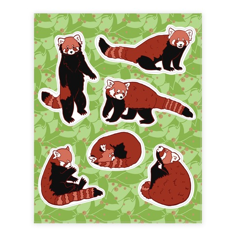 Cute Red Panda Sticker and Decal Sheet