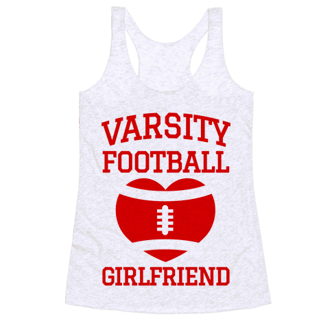 Varsity Football Girlfriend (red) Racerback Tank Top