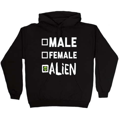 Male Female Alien Hooded Sweatshirt