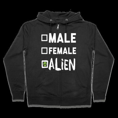 Male Female Alien Zip Hoodie