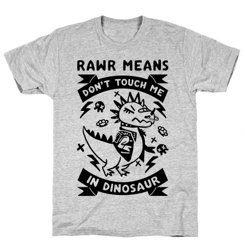 Rawr Means Don't Touch Me In Dinosaur Mens T-Shirt