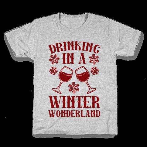 Drinking In A Winter Wonderland Kids T-Shirt