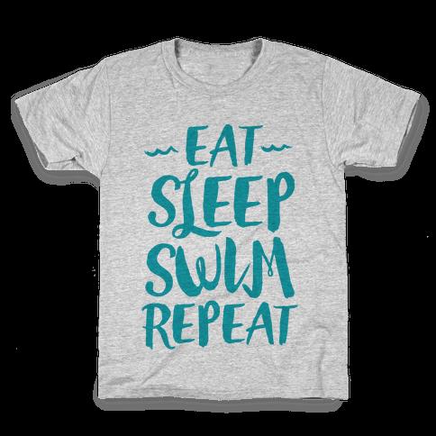 Eat Sleep Swim Repeat Kids T-Shirt