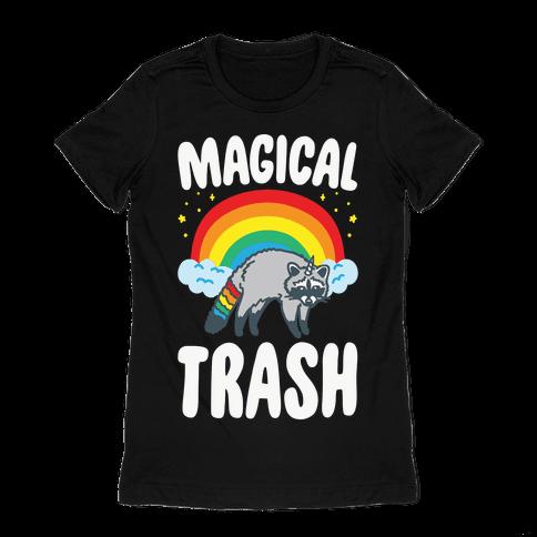 Magical Trash Raccoon White Print Womens T-Shirt