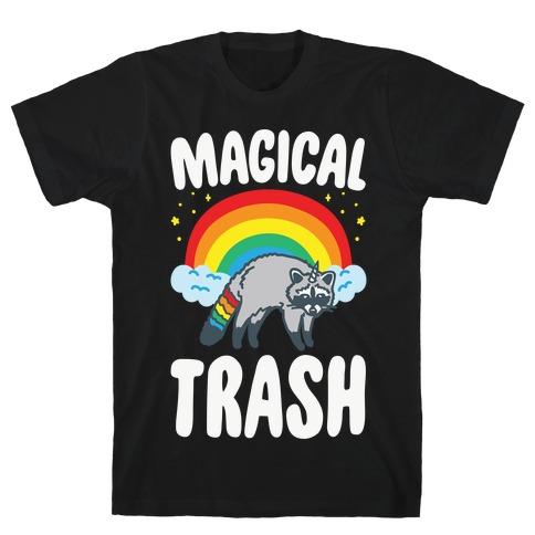 Magical Trash Raccoon White Print T-Shirt