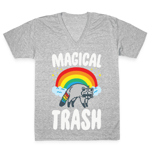 Magical Trash Raccoon White Print V-Neck Tee Shirt