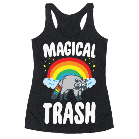 Magical Trash Raccoon White Print Racerback Tank Top