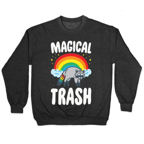 Magical Trash Raccoon White Print Pullover