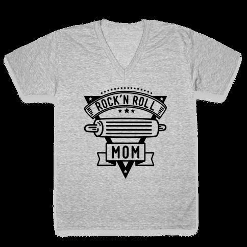 Rock-n-Roll Mom V-Neck Tee Shirt