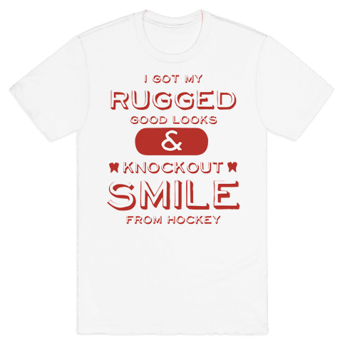 Knockout Hockey Smile Mens T-Shirt