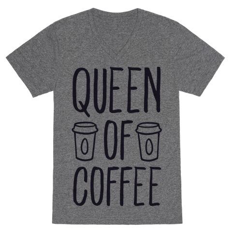 Queen of Coffee V-Neck Tee Shirt