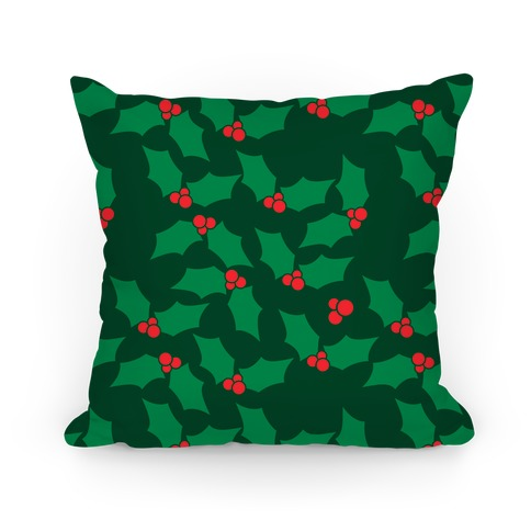 Christmas Holly Pattern Pillow