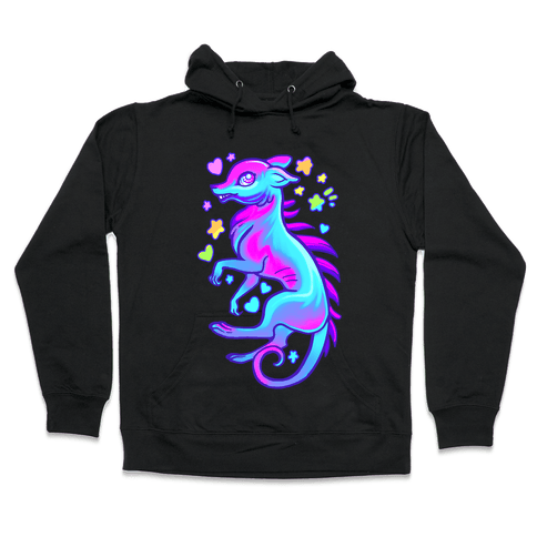 Neon Rainbow Chupacabra Hooded Sweatshirt