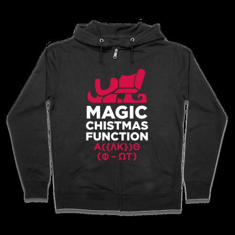Magic Christmas Function (White Ink) Zip Hoodie