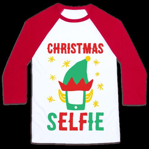 Christmas Selfie Baseball Tee