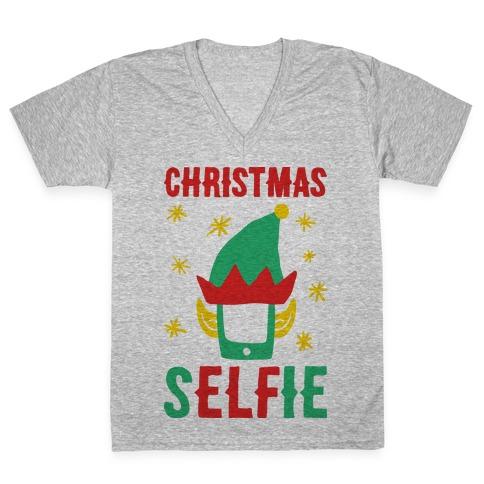 Christmas Selfie V-Neck Tee Shirt