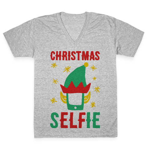 Christmas Selfie V-Neck Tee Shirt