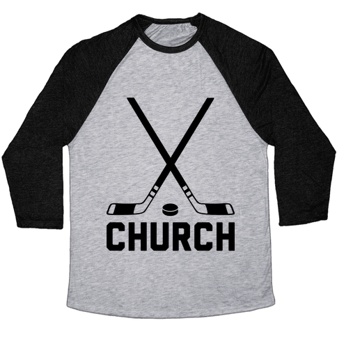 Hockey Church Baseball Tee