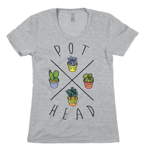 Pot Head Succulents Womens T-Shirt
