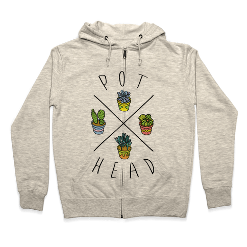 Pot Head Succulents Zip Hoodie
