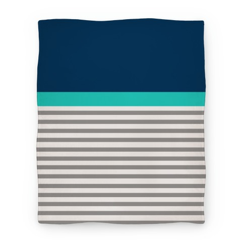 Blue Color Block Stripe Blanket