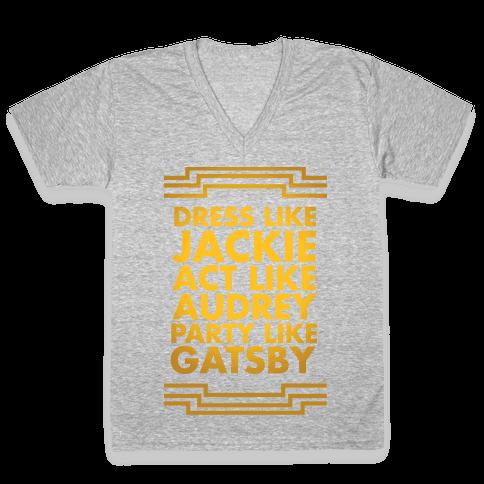 Party Like Gatsby V-Neck Tee Shirt