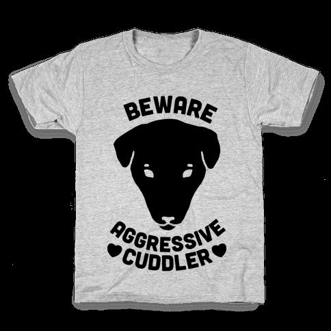 Beware: Aggressive Cuddler (Pit bull) Kids T-Shirt