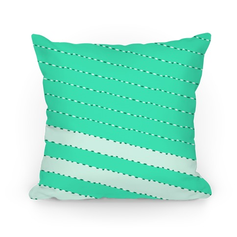 Aqua Diagonal Dashed Stripes Pattern Pillow