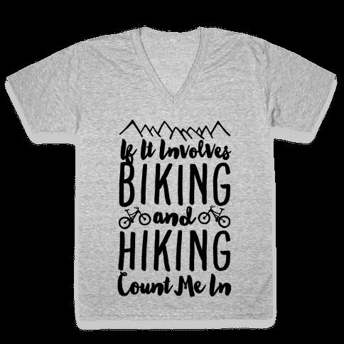 Biking and Hiking V-Neck Tee Shirt