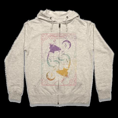 Unicorn Impostor Tarot Zip Hoodie