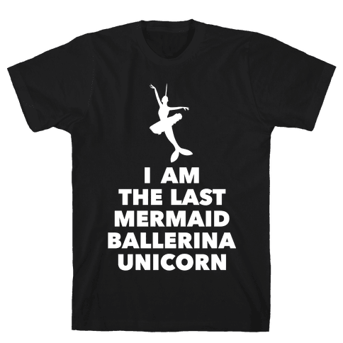 Mermaid Ballerina Unicorn Mens T-Shirt