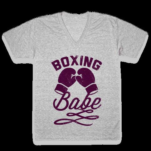 Boxing Babe (Vintage) V-Neck Tee Shirt
