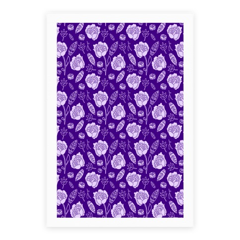 Floral and Leaves Pattern (Purple) Poster