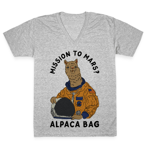 Mission to Mars Alpaca Bag V-Neck Tee Shirt