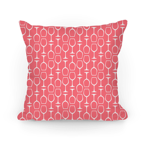 Pink and White Wine Glasses Pattern Pillow