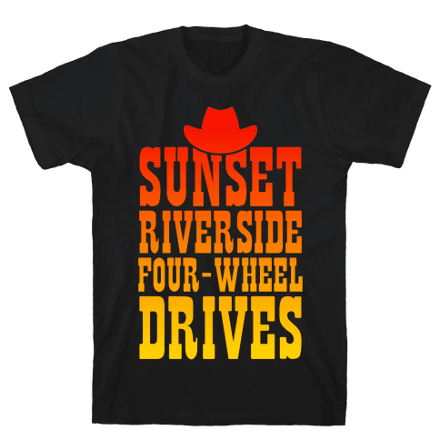 Sunset Riverside Four Wheel Drives Mens T-Shirt