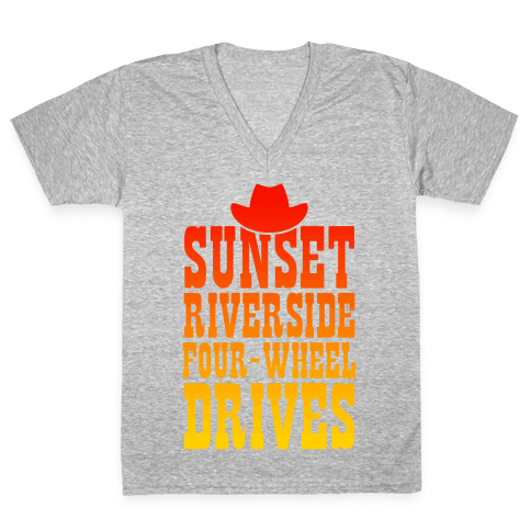 Sunset Riverside Four Wheel Drives V-Neck Tee Shirt