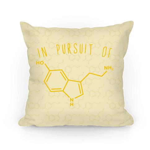 In Pursuit of Happiness (Serotonin Molecule) Pillow