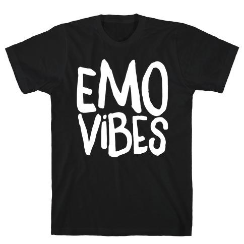 Emo Vibes White Print T-Shirt