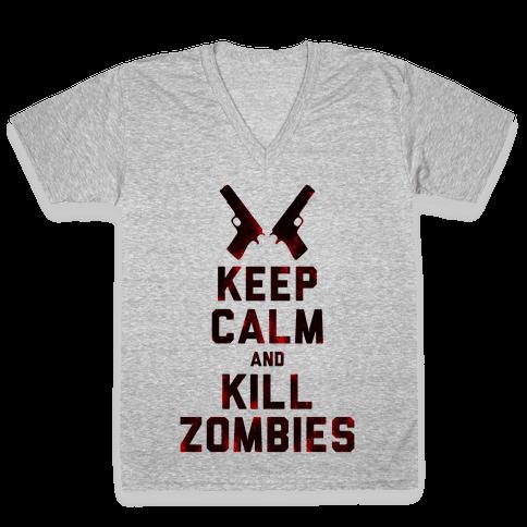 Keep Calm and Kill Zombies V-Neck Tee Shirt