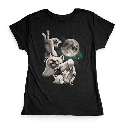 Three Wolf Moon Moon Womens T-Shirt