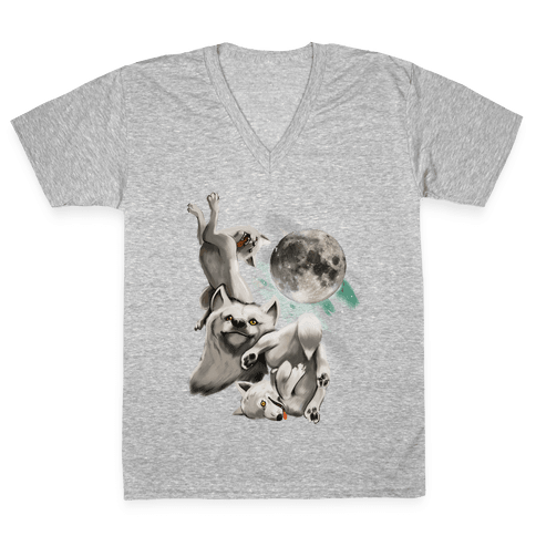 Three Wolf Moon Moon V-Neck Tee Shirt