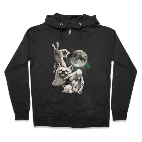 Three Wolf Moon Moon Zip Hoodie