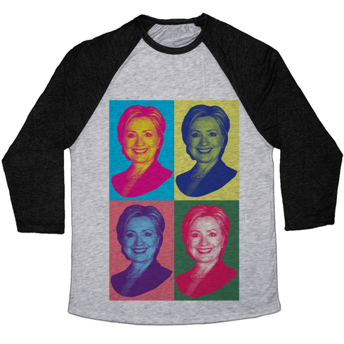 Pop Art Hillary Clinton Baseball Tee