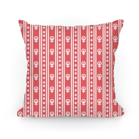 Coral Feminist Symbol Pattern Pillow