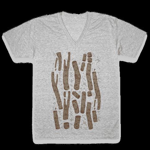 Birch Trees and Runes V-Neck Tee Shirt
